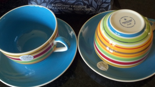 2 huge Whittard coffee mugs with plates -  brand new - £2