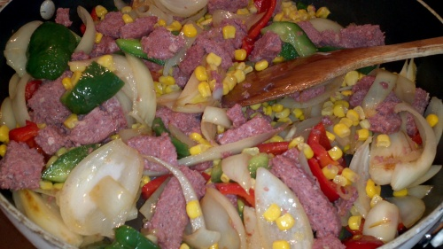 add corned beef and sweetcorn (optional)