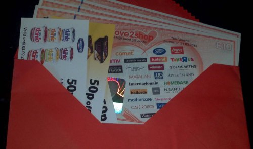Magic envelope full of vouchers