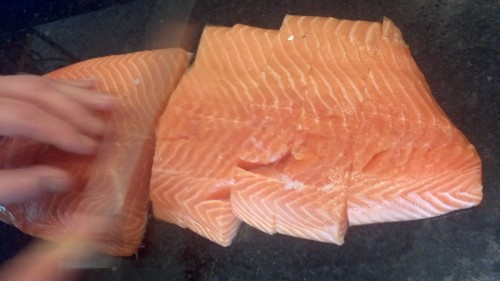 Cut your salmon into a portions