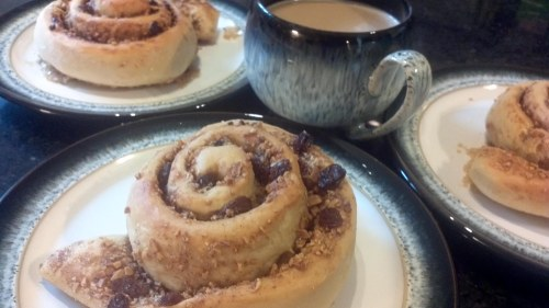 Perfect combination - cinnamon swirls and freshly brew coffee