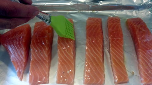 Brush your salmon with a little bit of olive oil