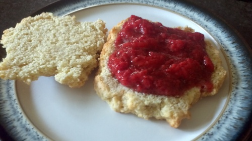 Place a generous serving of the strawberry mousse on the bottom part of your scone