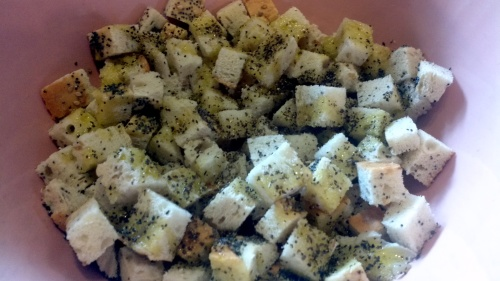 Sprinkle over the salt, pepper and mixed herbs and stir well but gently, in order to spread evenly
