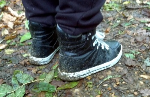 We collected a lot of mud, especially on our shoes