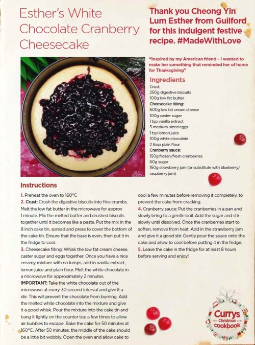 White Chocolate Cranberry Cheesecake,  yummy it even sounds awesome...