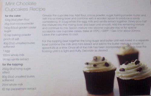 This is a full recipe from the packaging In case you are a cupcake fan and would like to try it Mint Chocolate Cupcakes
