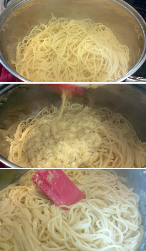 Mixing pasta with eggs