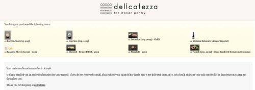 My order screen shot