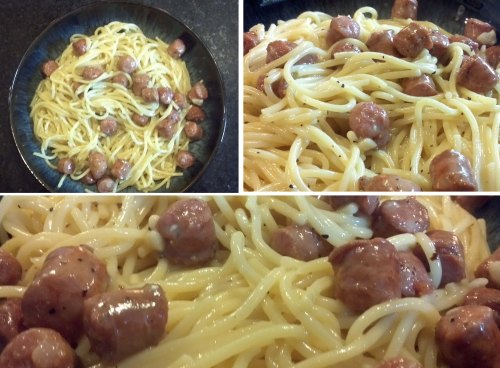 Out take on Spaghetti with Eggs and Sausage