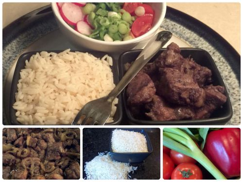Afelia with rice and salad