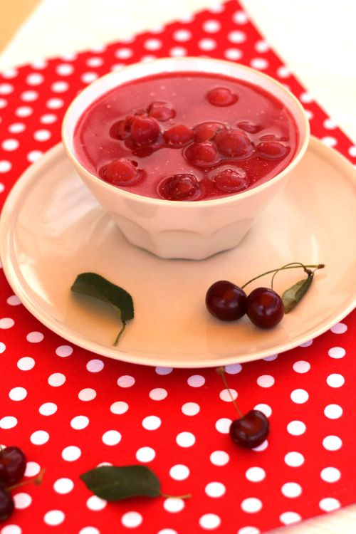 Chilled sour cherry soup