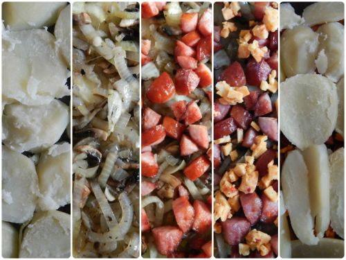 Layer Potato Bake with Sausage, Mushroom & Onion..