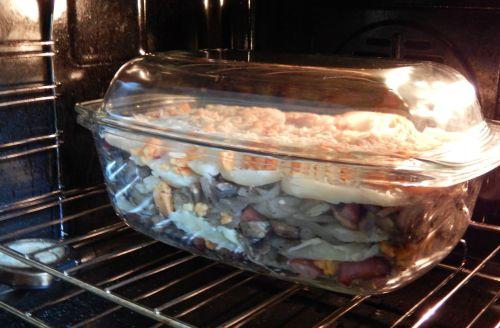 Layer Potato Bake with Sausage, Mushroom & Onion...
