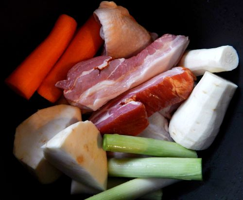 2. Fresh Tomato Soup with Crispy Pork Bits and Wild Rice