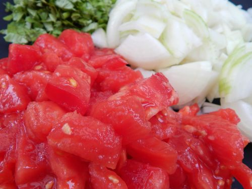3. Fresh Tomato Soup with Crispy Pork Bits and Wild Rice