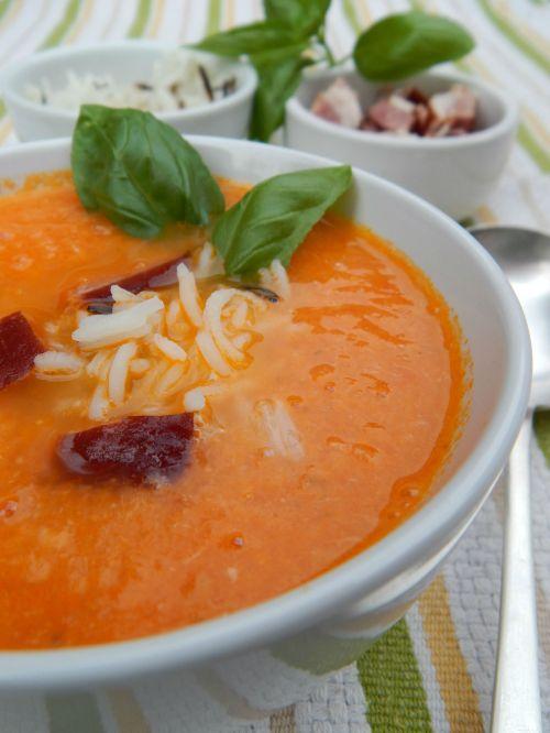 Fresh Tomato Soup with Crispy Pork Bits and Wild Rice