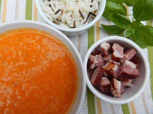 Fresh Tomato Soup with Crispy Pork Bits and Wild Rice.