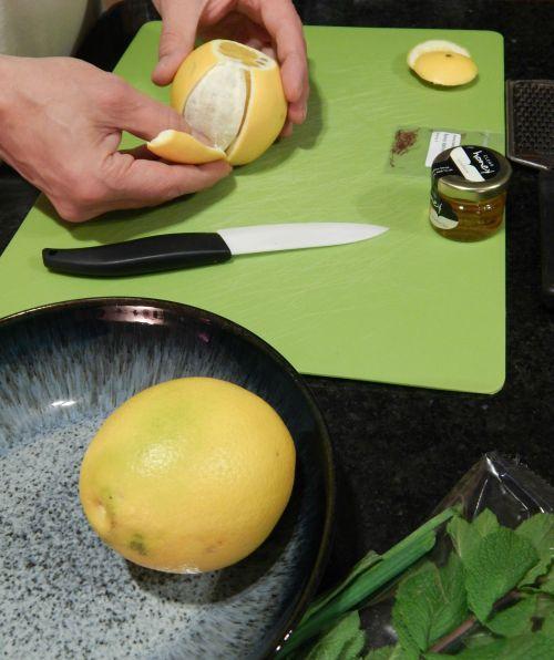 Honey Saffron Chicken with Mint & Orange Couscous - orange preparation