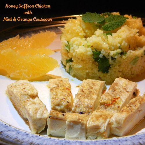 Honey Saffron Chicken with Mint & Orange Couscous