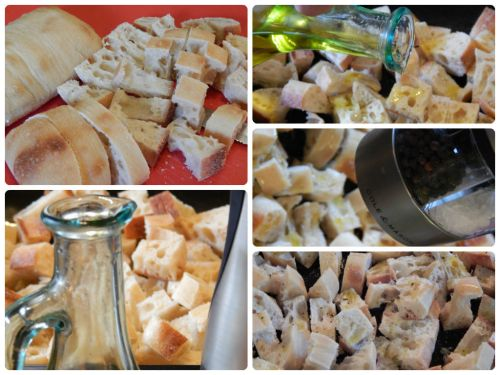 Mozzarella Panzanella Salad - bread praparation