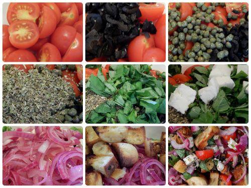 Mozzarella Panzanella Salad in the making