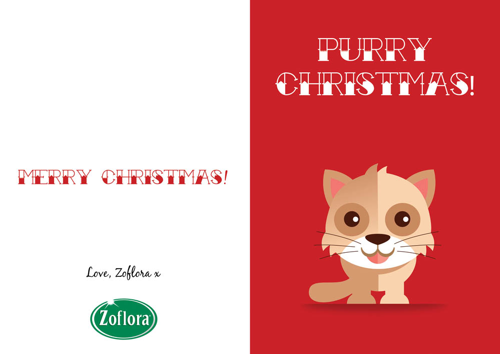 cat printable christmas cards from zoflora - Christmas Card Print Out