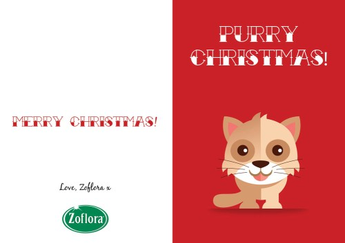 Cat - Printable Christmas Cards from Zoflora