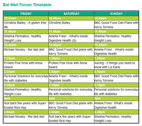 BBC Good Food Eat Well Show - Eat Well Forum Timetable