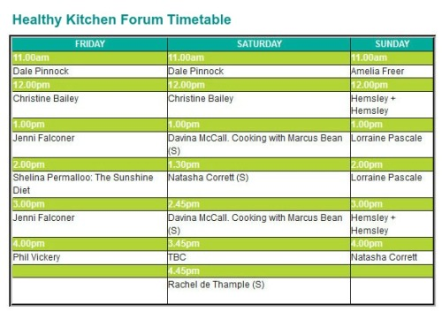BBC Good Food Eat Well Show - Healthy Kitchen Forum Timetable